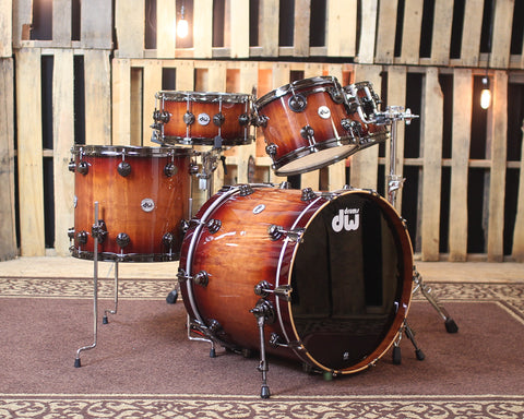 DW Collector's Series Natural to Rich Red Burst Over Macore Drum Set - SO#1138503
