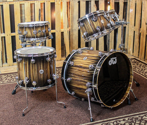 DW Collector's Black Burst Over Monkey Pod Drum Set - 22,10,12,16 - SO#1164479