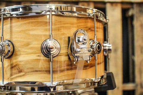 DW Jazz Natural Lacquer Over Olive Ash Burl 7x14 Snare Drum - SO# 1119657