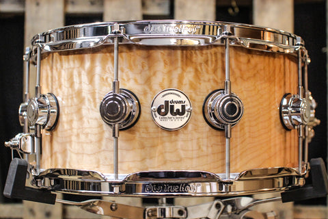 Collector's Cherry/Mahog Natural Lacquer Over Quilted Maple 6.5x14 Snare Drum - SO# 1119658