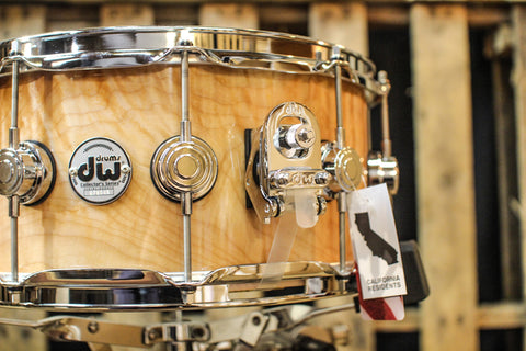 DW Collector's Natural Lacquer Over Quilted Maple 6.5x14 Snare - SO# 1119658