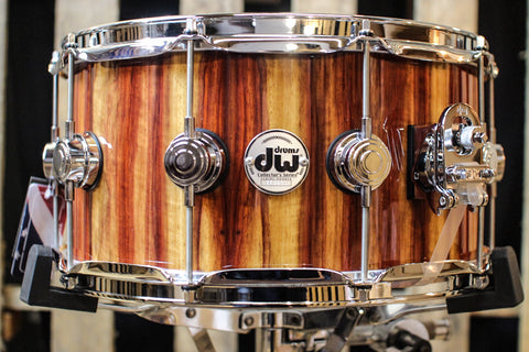 Collector's Purple Heart VLT Natural Lacquer Over Vertical Padouk 7x14 Snare Drum - SO# 1119628