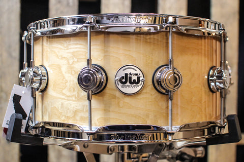 Collector's Maple VLT Natural Lacquer Over White Ash Pomele 6.5x14 Snare Drum - SO# 1119651