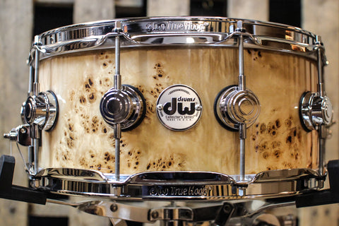 DW Collector's Natural Lacquer Over Mapa Burl 6x14 Snare Drum - SO# 1119662