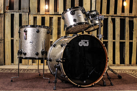 DW Collector's Maple/Mahog Nickel Sparkle Glass Drum Set - 22, 10, 12, 16 - SO# 1113374