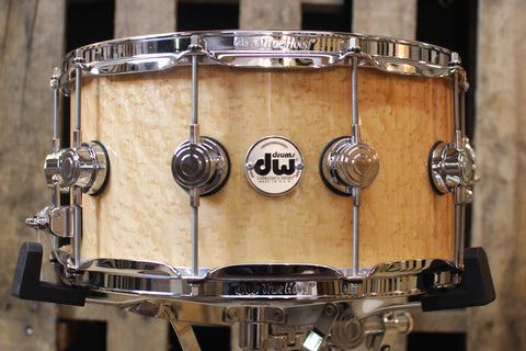 DW Collector's Natural Lacquer Over Birdseye Maple 7x14 Snare - SO# 1119648