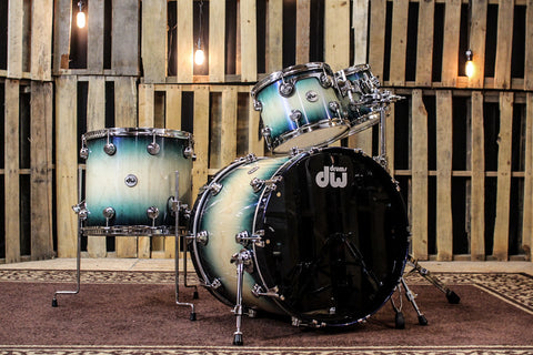 DW Collector's Maple Violet Pearl Over Natural To Regal To Black Burst Drum Set - 22, 10, 12, 16
