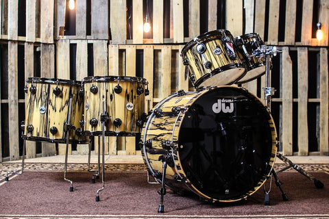 DW Collector's Maple Natural Lacquer Over Ivory Ebony Drum Set - 22, 10, 12, 14, 16 - SO# 1113340