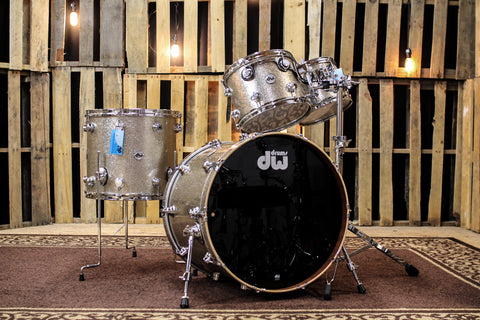 DW Collector's Maple/Mahog Nickel Sparkle Glass Drum Set - 22, 10, 12, 16 - SO# 1121124