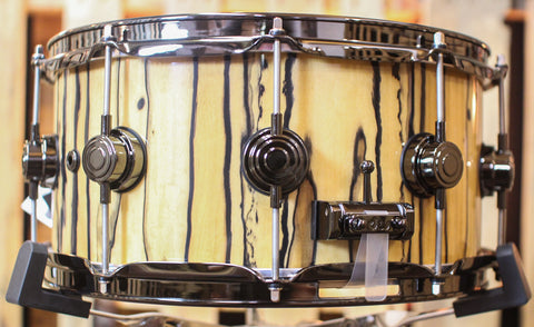 DW Collector's VLT Natural Lacquer Over Ivory Ebony Snare - SO#1157722 - 6.5x14
