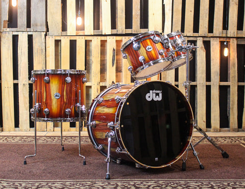 DW Collector's Almond Burst Over Padauk Drum Set - 22,10,12,16 - SO#1161699