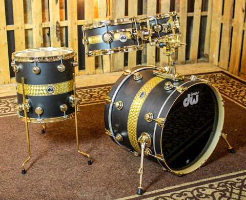 DW Collector's Gold Leaf Rally Stripe Over Ebony Kit - 20,10,12,14 - SO#1153902