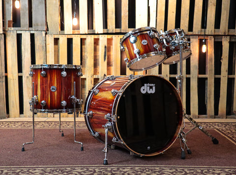 DW Collector's Almond Burst Over Padauk Drum Set - 22,10,12,16 - SO#1161696