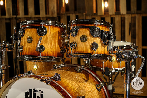20th Anniversary Sale! Used DW Drums Jazz Series Maple/Gum Natural To Rich Red Burst Over Quirrely Maple With Chrome Hardware