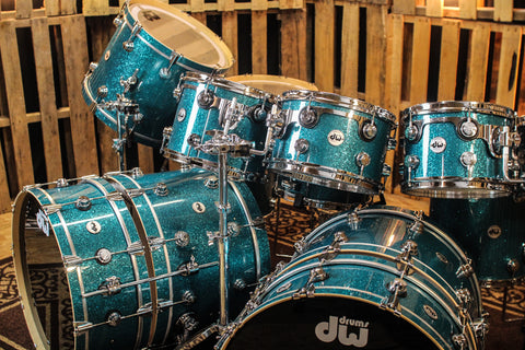 DW Collector's Maple SSC Teal Glass Drum Set - SO# 1054682