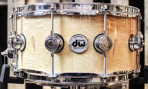 DW Collector's Natural Lacquer Angel Pearl Exotic Maple VLT 6.5x14 Snare - SO#1157730