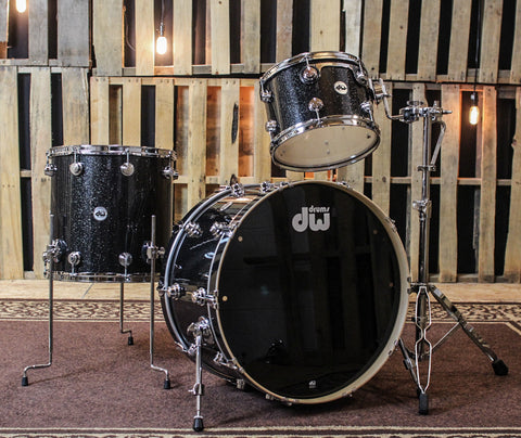 DW Collector's Maple Black Ice Drum Set - 24, 13, 16 - SO#1159194