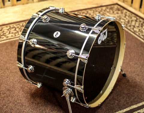 USED DW Collector's Series 18x23 Finish Ply Solid Black Bass Drum SO#803624