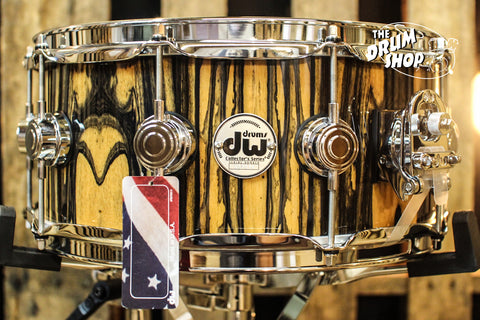 DW Collector's Maple Natural Lacquer Over Royal Ebony 6x14 Snare Drum - SO# 1101172