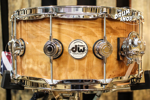 DW Collector's Maple Natural Lacquer Over Quilted Moabi 6.5x14 Snare Drum - SO# 1101158