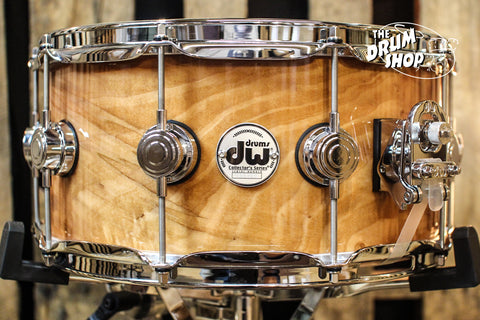 DW Collector's Maple Natural Lacquer Over Quilted Moabi 6.5x14 Snare Drum - SO# 1101160