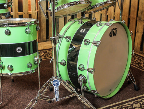DW Collector's Black Rally Stripe Over Lime green Drum Set - SO#856245