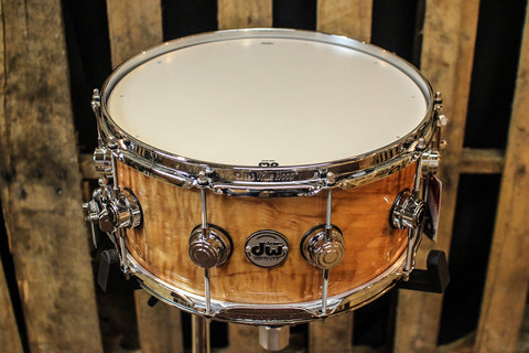 DW Collector's Maple Natural Lacquer Over Quilted Moabi 6.5x14 - SO# 1101153