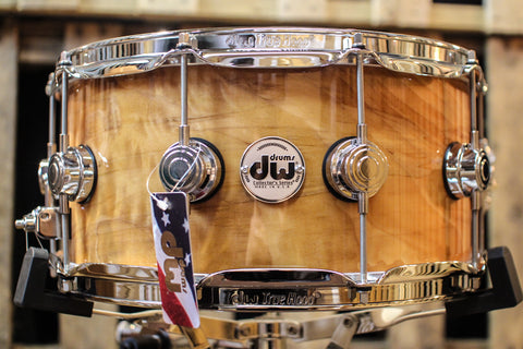 DW Collector's Maple Natural Lacquer Over Quilted Moabi 6.5x14 - SO# 1101155