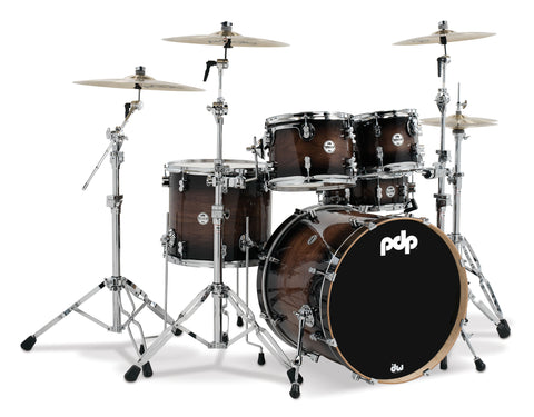 PDP Concept Maple Exotic Walnut To Charcoal Burst Drum Set - 22, 10, 12, 16, 5.5x14 - PDCMX2215WC