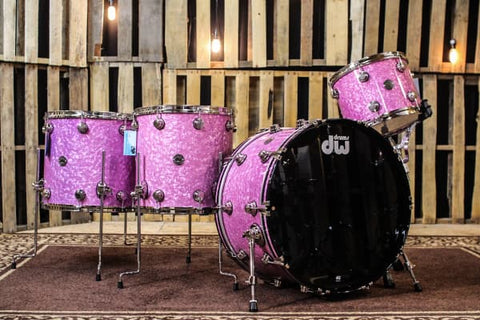 Contemporary Classic Transparent Light Purple Over Ultra White Marine Drum Set - 24, 13, 16, 18