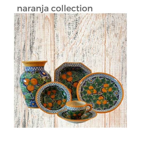 The Vibrant Blue and Orange of our Naranja Talavera Tableware Collection