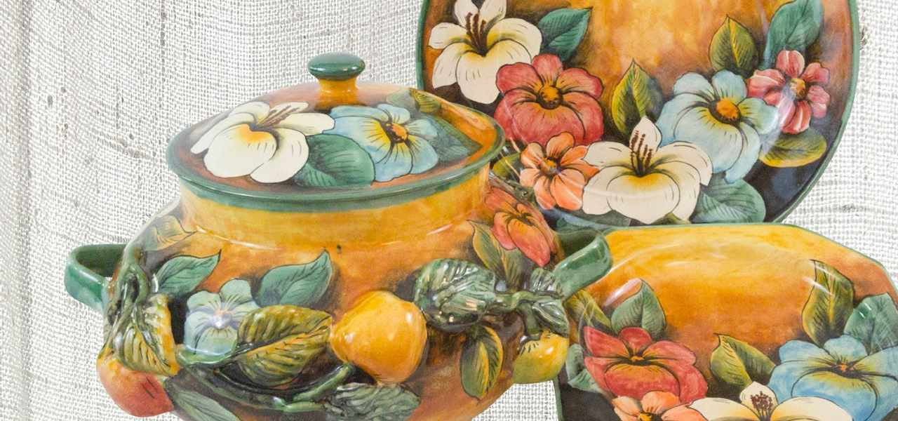 Rustica Talavera Pottery and Pewter gifts Soup Tureen Serving ware from Colores Collection