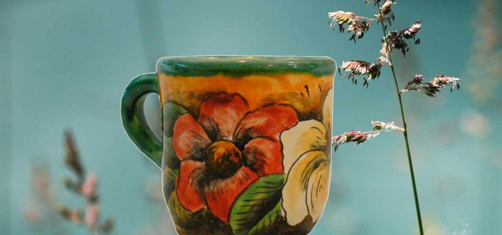 Rustica Gift & Pottery Coffee mugs and tea cups authentic Talavera pottery and Majolica from Mexico Colores collection
