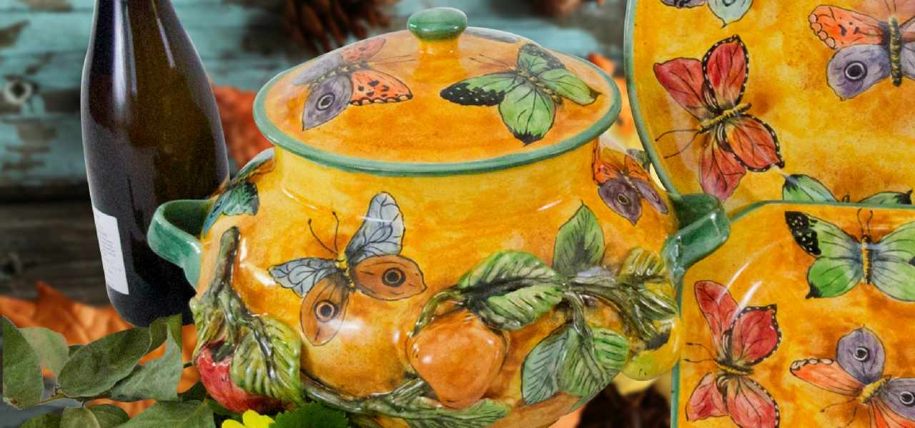 The Mariposas Mayolica Collection of Mexican Pottery Tableware and dinnerware Rustica Gift & Talavera Pottery