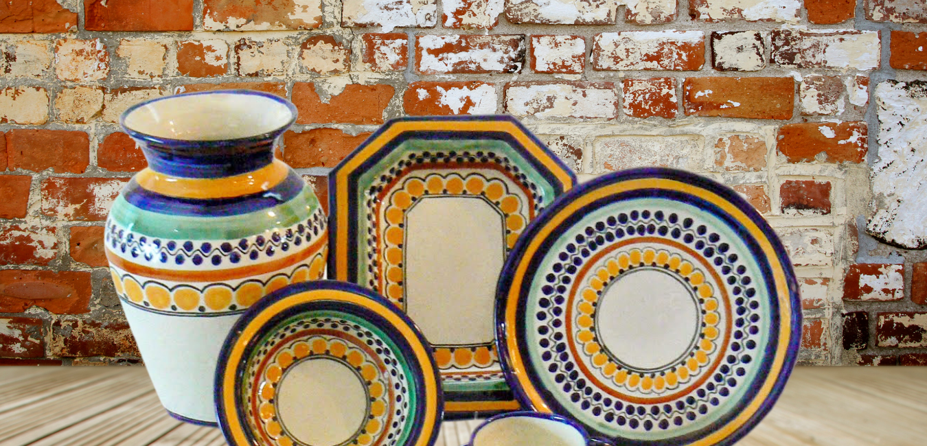 Rustica Gift and Pottery Ondo Collection Talavera dinnerware plates mugs cups soup bowls appetizer and salad plates servingware platters and casserole dishes