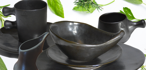 Rustica Gift & Pottery Minoan Collection Charcoal soup, cereal bowl and potteryware gift.