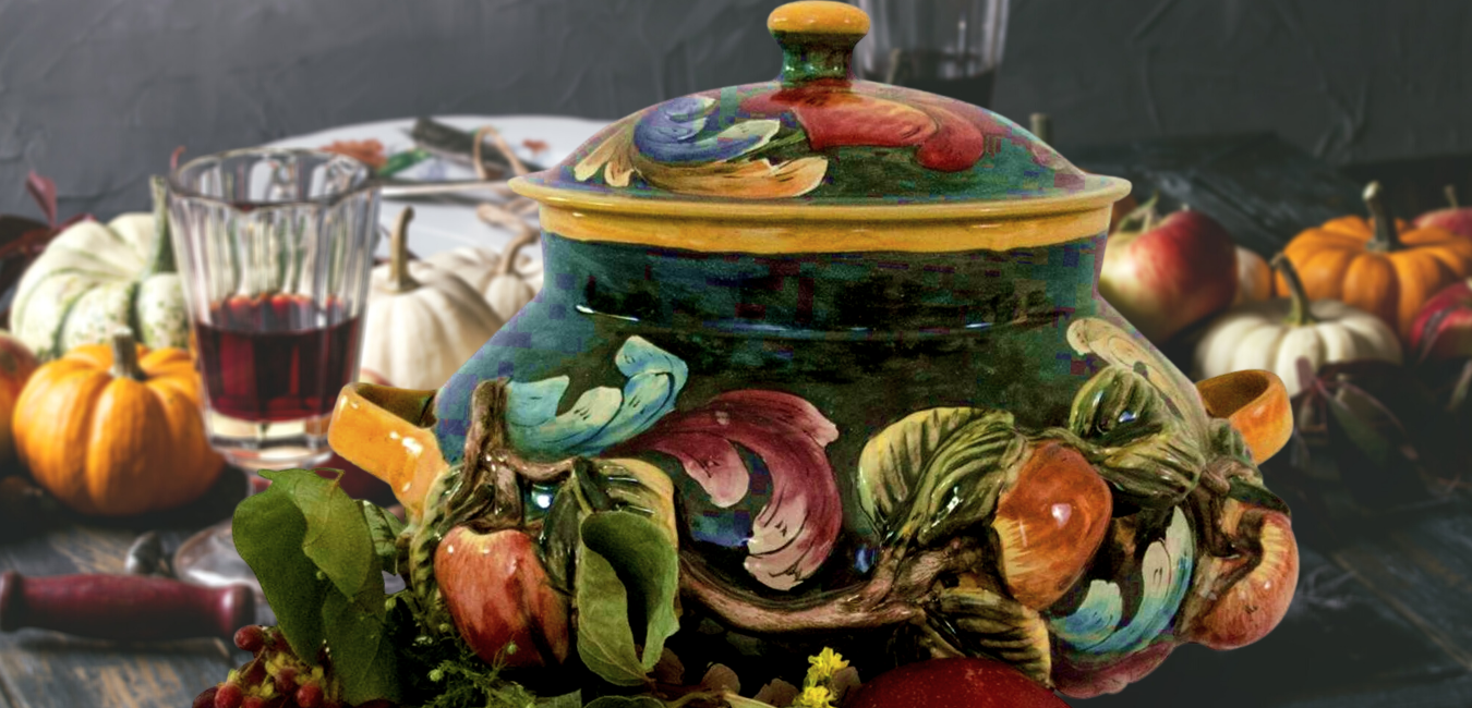Artisan Holiday Table handcrafted servingware, soup tureens, platters and casserole dishes