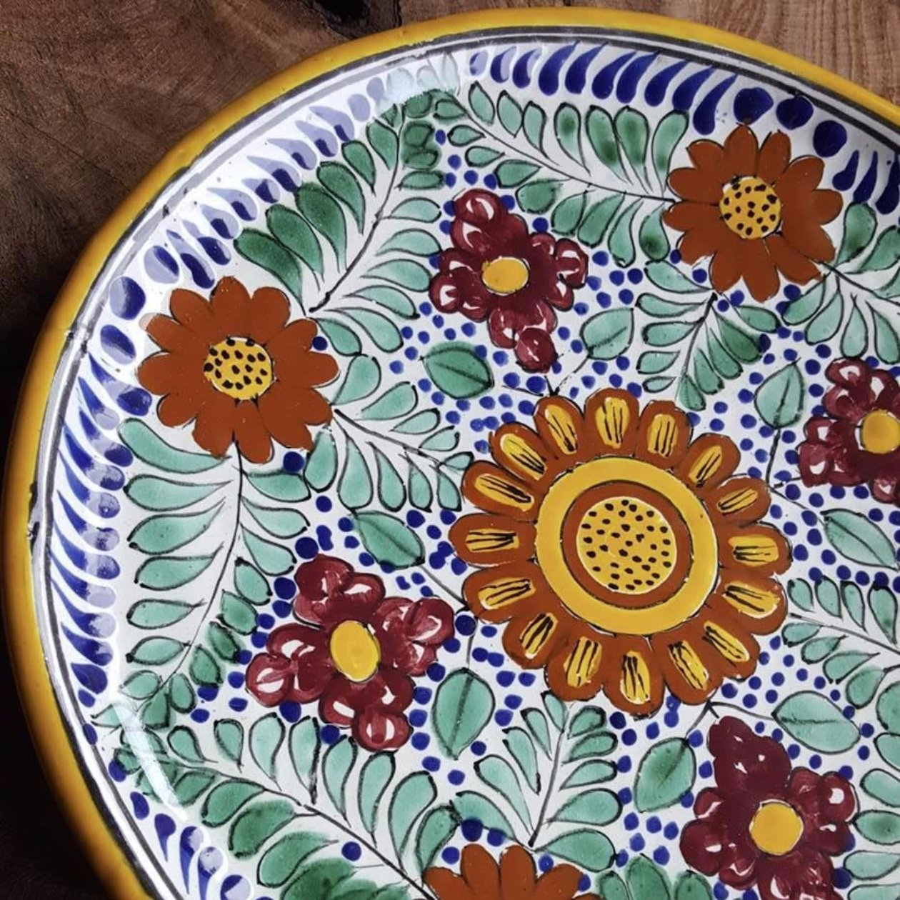 Rustica Gift Amapola Collection Mexican Talavera Pottery Dinner plate detail evocative of Italian Pottery ...  sc 1 st  Rustica Gift \u0026 Talavera Pottery & Amapola Mexican Talavera Pottery Dinner Plate | Rustica Gift
