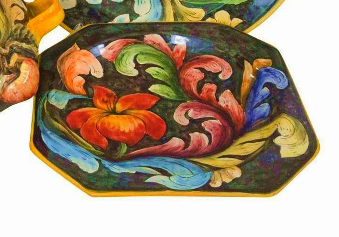 Rustica Gift Mexican Talavera Mayolica evokes Italian plates u0026 dinnerware octagon plate from Flores collection ...  sc 1 st  Rustica Gift u0026 Talavera Pottery & Mexican Talavera Pottery Mayolica Flores Collection Octagon Plate ...