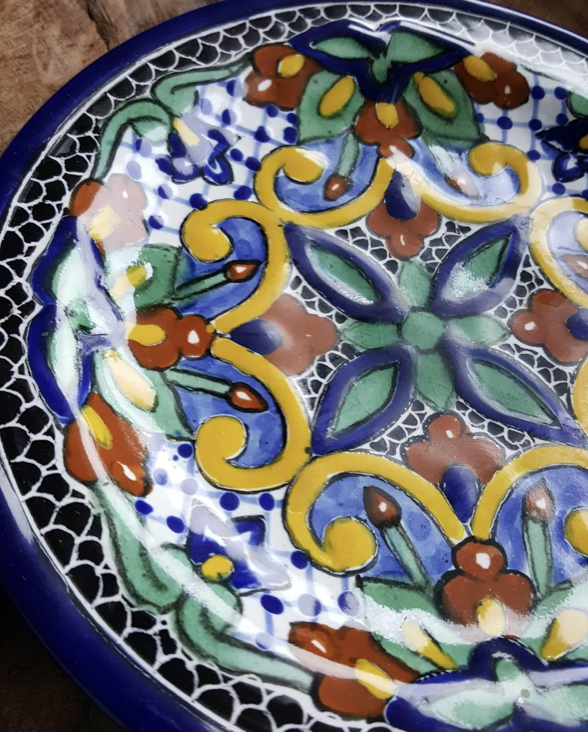 ... Rustica Gift Mosaico Mayolica Mexican Talavera Dinner Plate Italian pottery style detail ... & Mosaico Mexican Talavera Pottery Dinner Plate | Rustica Gift