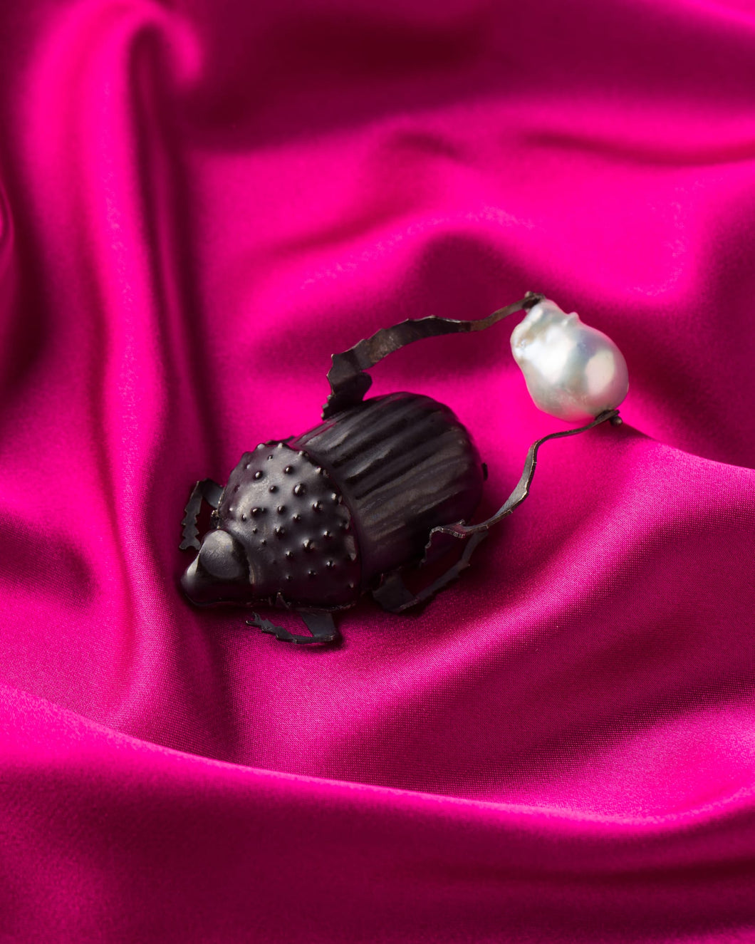Samantha Dennis Coleoptera Beetle Brooch with Baroque Pearl