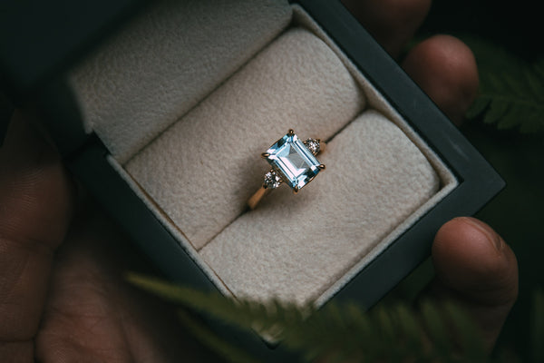 Aquamarine & Diamond Engagement Ring
