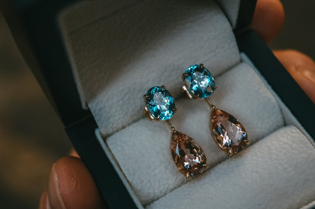 Bespoke Aquamarine and Morganite Earrings