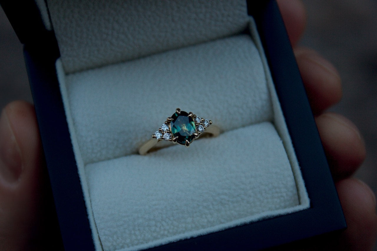 Moira Patience Fine Jewellery Bespoke Australian Green Sapphire and Diamond Engagement Ring in Edinburgh