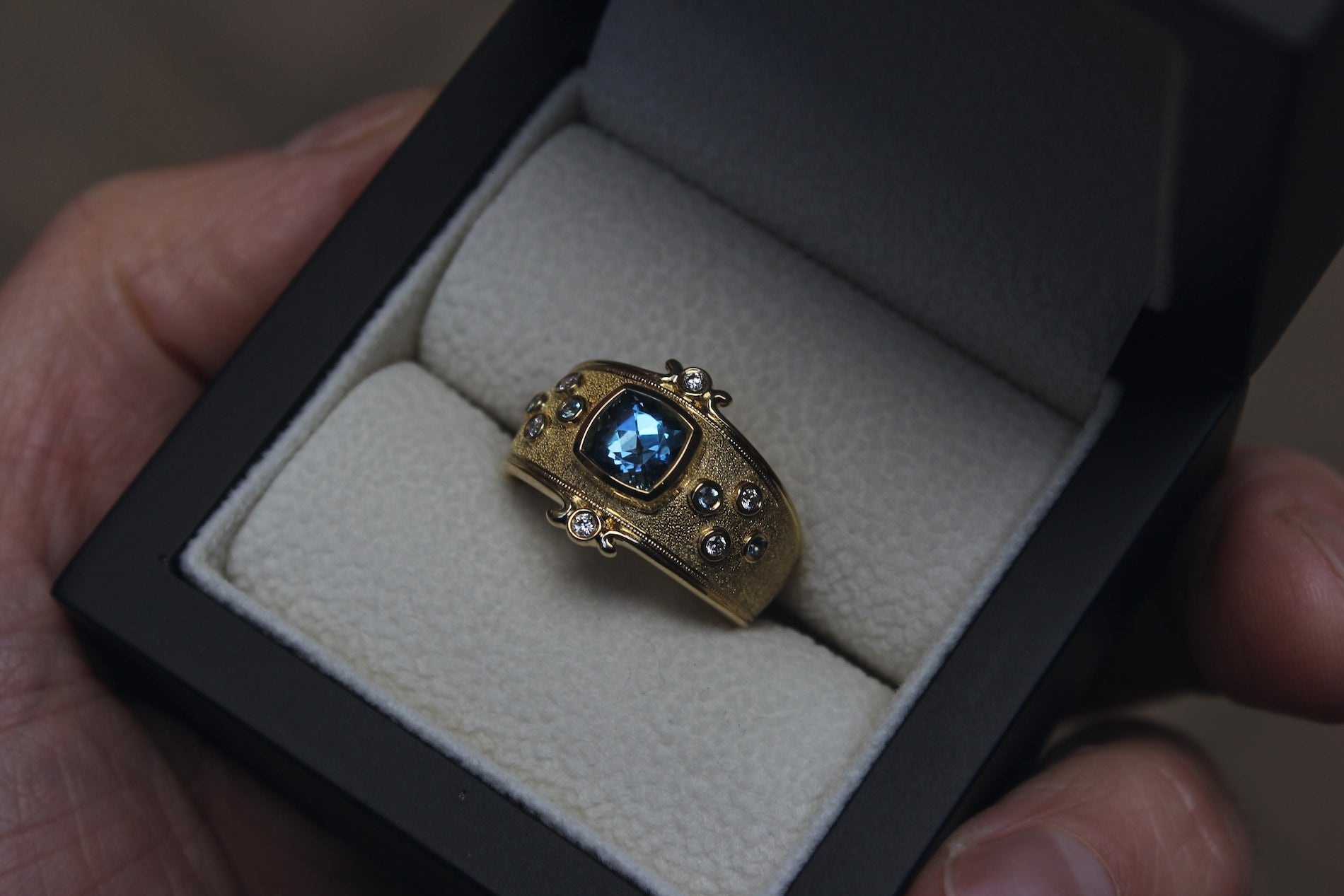 Aquamarine & Diamond Cocktail Ring