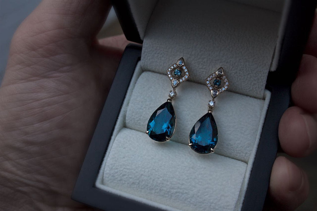 Moira Patience Fine Jewellery Bespoke Commission Edinburgh London Blue Topaz & Diamond Earrings