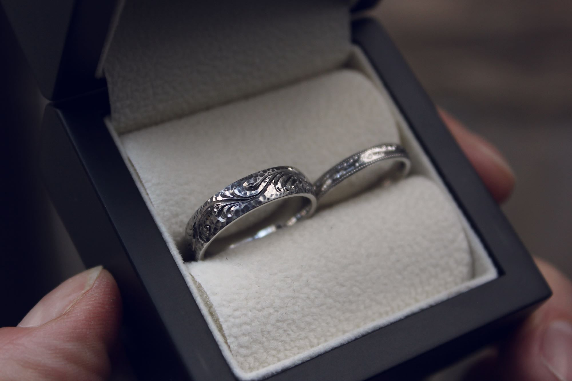 Moira Patience Fine Jewellery Bespoke Commission Engraved Platinum Wedding Rings in Edinburgh