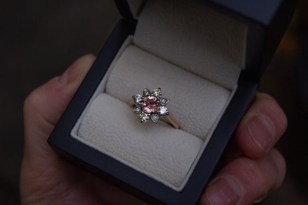 Malaya Garnet & Diamond Engagement Ring