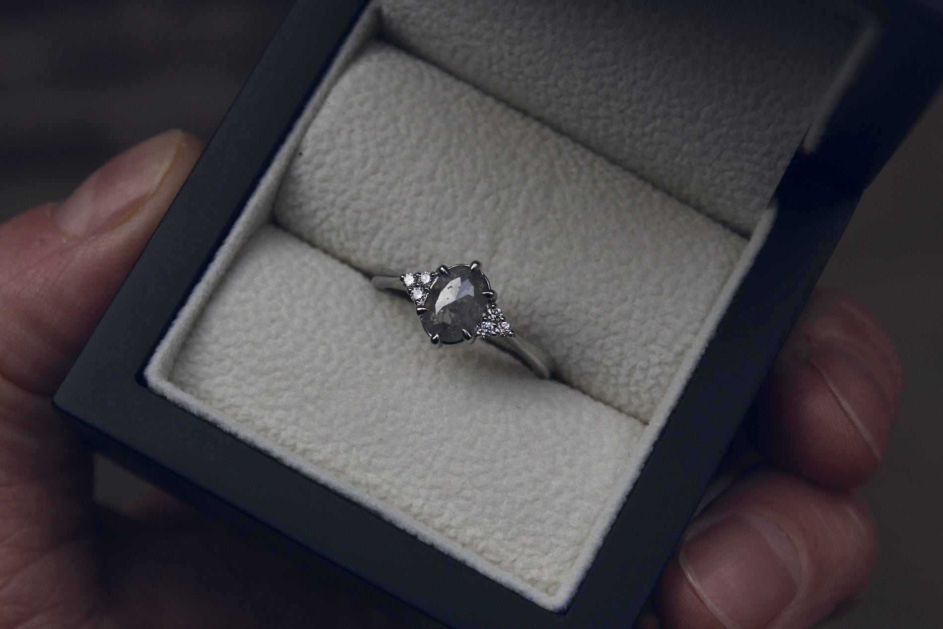 Grey Marquise Diamond Engagement Ring