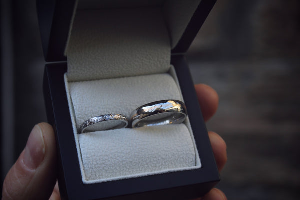 Hand Engraved Platinum Wedding Rings